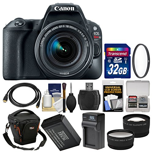 Charger Black Case Lcd (Canon EOS Rebel SL2 Wi-Fi Digital SLR Camera & EF-S 18-55mm IS STM Lens (Black) + 32GB Card + Case + Battery & Charger + Filter + Tele/Wide Lens Kit)