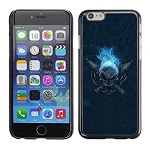 "For Apple Iphone 6 Plus / 6S Plus ( 5.5 ) , S-type Flaming Skull"" - Arte & diseño plástico duro Fundas Cover Cubre Hard Case Cover"