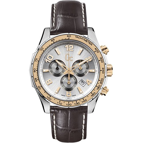 Guess Collection TechnoSport X51005G1S 44mm Stainless Steel Case Brown Calfskin Synthetic Sapphire Men's Watch