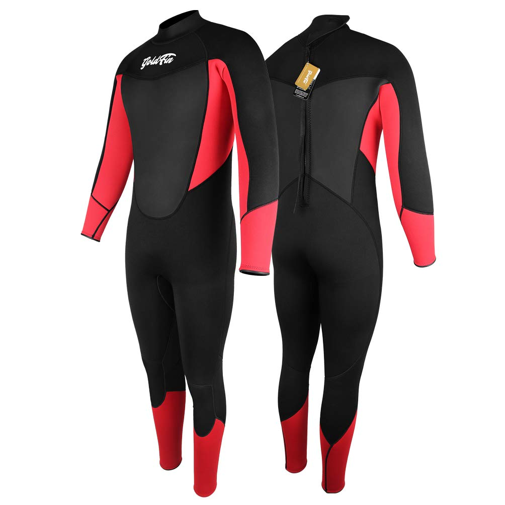 GoldFin Mens Wetsuits 3/2mm Neoprene Full Suit- Thermal Swim Suit Back Zip Long Sleeve for Diving Surfing Snorkeling, SW025 (Black, M) by GoldFin