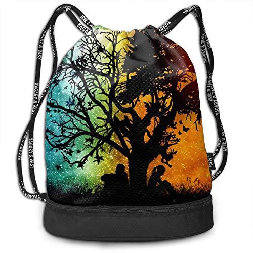 Gymsack Trance Different Tree Print Drawstring Bags - Simple School String Bag ()