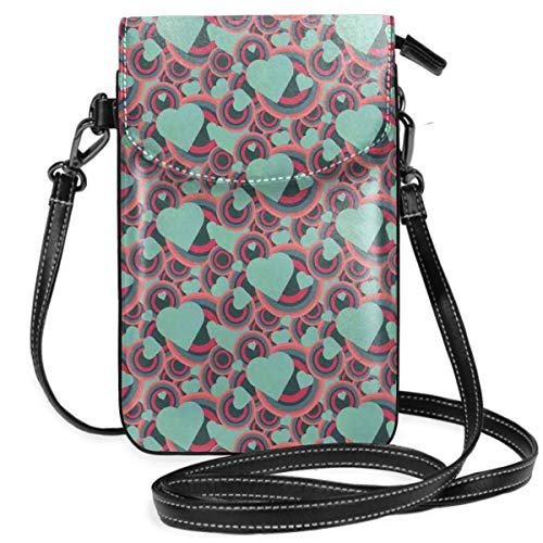 Women Small Cell Phone Purse Crossbody,Valentines Day Pattern With Bullseye Circles And Love Symbols Ornate Heart Shapes ()