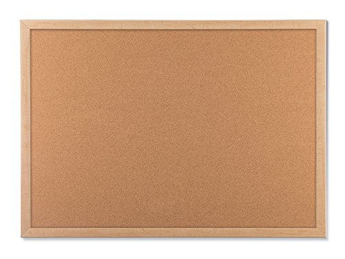 U Brands Cork Bulletin Board, 23 x 17 Inches, Light Birch Wood Frame -