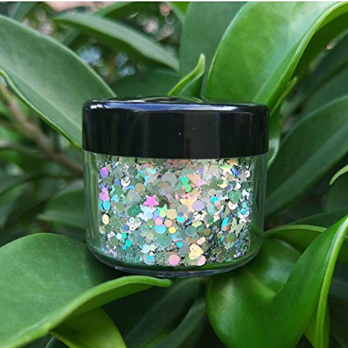 COKOHAPPY Large Laser Silver Ultra-thin Holographic Chunky Cosmetic Mix Glitter Jar (20 ml) Includes Long Lasting Fix Gel (10ml) Holographic Rave Festival Face Body Hair Nails Shining Set