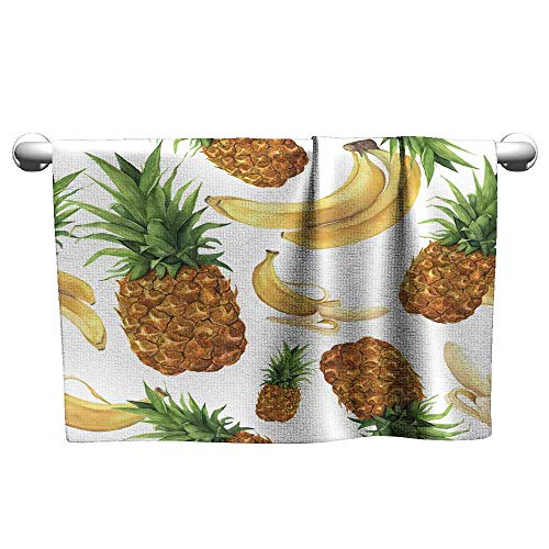 (art towel Watercolor pineapple and bananas pattern Hand painted tropical fruits with leaves isolated on white background Food botanical illustration for design or print ,towel wraps for women)