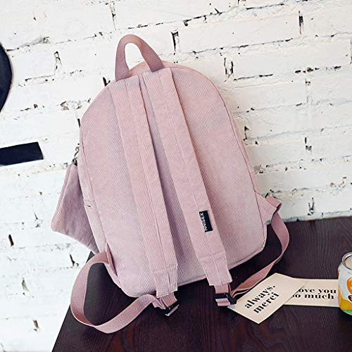 Women JAGENIE Travel Corduroy Shoulder Casual Pink Backpack Yellow Rucksack Girls Bag Teenagers New Urrxwqd