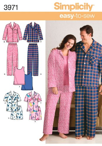 Simplicity Mens Womens Pattern - Simplicity Easy-to-Sew Pattern 3971 Women's and Men's Pajamas in Two Lengths, Knit Tank Top, Size XL-XXL-XXXL