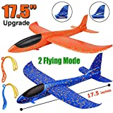 """Toys : 2 Pack Airplane Toys, Upgrade 17.5"""" Large Throwing Foam Plane, 2 Flight Mode Glider Plane, Flying Toy for Kids, Gifts for 3 4 5 6 7 Year Old Boy, Outdoor Sport Toys Birthday Party Favors Foam Airplane"""