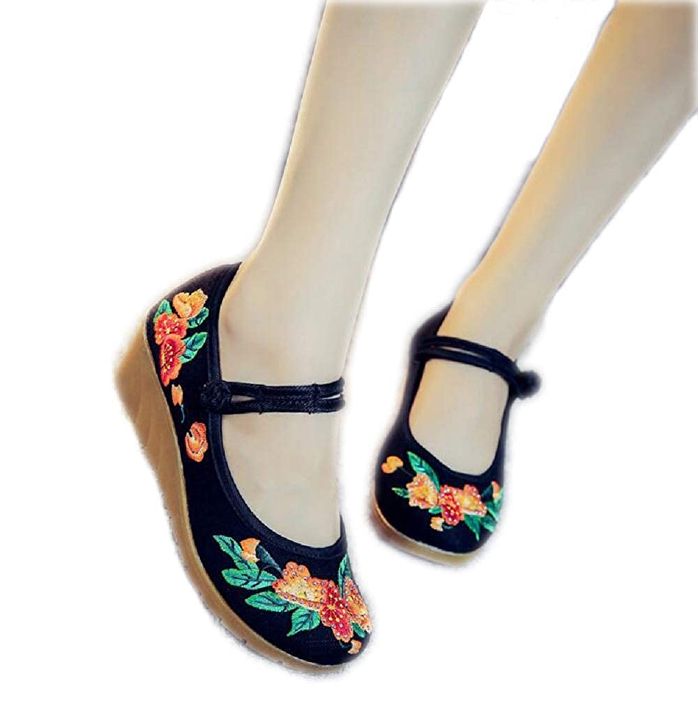 Amazon.com | Lazutom Women Lady Chinese Style Embroidery Linen Comfortable Casual Walking Platform Wedge Dress Party Shoes | Platforms & Wedges
