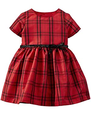 Carters Infant Girls Red & Black Plaid Holiday Party Special Occasion Dress