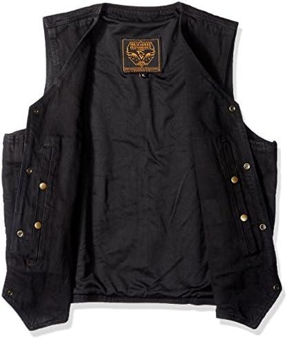 Biker's Edge Men's Plain Side Basic Denim Vest (Black, X-Large)