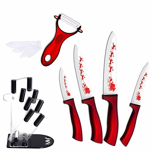 XYJ 6-Piece Set Knife Stand+ Ceramic Knives+ Peeler Kitchen Knife Christmas Series Tools (Christmas Art Cip)