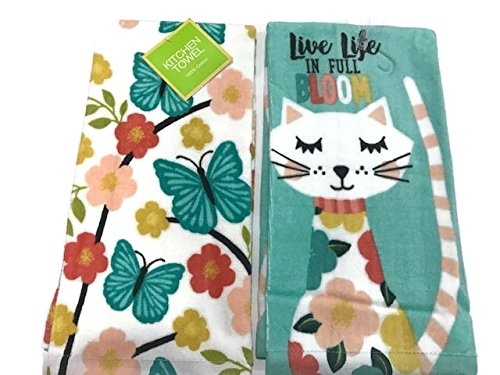 Ritz Bloom Kitty & Butterfly Branches Springtime Kitchen Tow