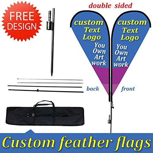 13.5ft Double-Sided Custom Teardrop and Banners Inground ()