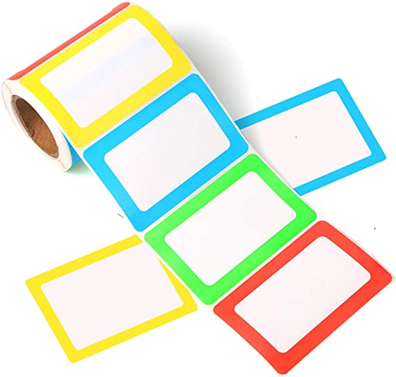 RyhamPaper Name Tags,200 Name Tag Labels Colorful Border Name Tag Stickers School Office Party Stickers