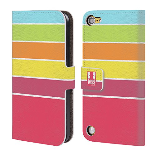 Official One Direction 1D Orange And Hot Pink Stripes Collection Leather Book Wallet Case Cover for Apple iPod Touch 5G 5th Gen / 6G 6th Gen