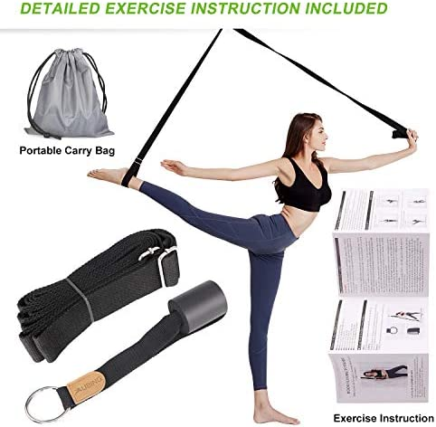UBING Leg Stretcher with Detailed Exercise Instruction, Leg Stretch Strap for Ballet Cheer Dance Physical Therapy Include a Portable Carry Bag