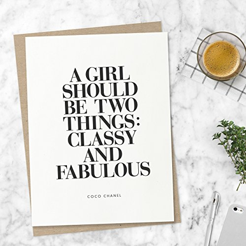 Coco Chanel Quote 'Classy and Fabulous' Typography Print Wall Decor Motivational Poster Inspirational Poster Home Decor