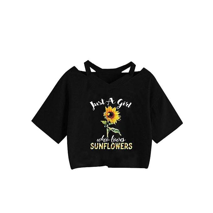 DressLksnf Camiseta de Mujer Estampado de Girasol de Cortas ...