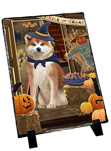 Akita Slate (Doggie of the Day Enter at Own Risk Trick or Treat Halloween Akita Dog Photo Slate SLT52929)