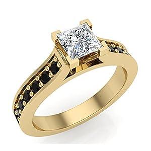 3/4 ct tw Black & White Natural Princess Diamond Engagement Ring 14K Yellow Gold (Ring Size 8.5)