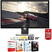 Dell S2817Q 28 Ultra HD 4K 3840x2160 LED Backlit Monitor + Elite Suite 17 Standard Software Bundle (Office Suite Pro, Photo Editor, PDF Editor, PCmover Pro) + 1 Year Extended Warranty