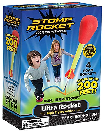 Stomp Rocket Ultra Rocket, 4 Rockets - Outdoor Rocket Toy Gift for Boys and Girls - Comes with Toy Rocket Launcher - Ages 6 Years and ()