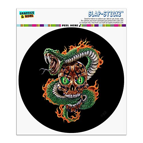 (Fire Snake and Skull Biker Motorcycle Flames Racing Automotive Car Window Locker Circle Bumper)