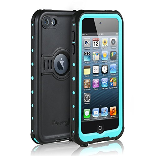 Waterproof Case for iPod 7/ iPod 6/iPod 5, Merit Knight Series Waterproof Shockproof Dirtproof Snowproof Case Cover with Kickstand for Apple iPod Touch 5th/6th/7th Generation for Diving (Aqua Blue)