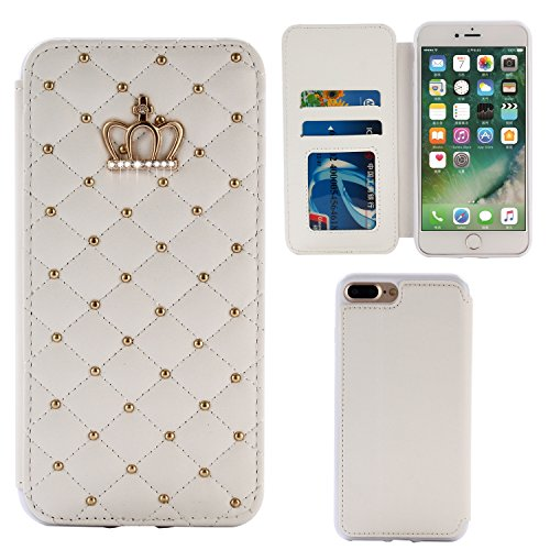 Diamante Leather - Deluxe Crystal Bling Diamond Wallet Stand Leather Case for iPhone 7 Plus, Miniko(TM) Diamond Bling Diamante Wallet PU leather PU Leather Case Cover Pouch for iPhone 7 Plus-White