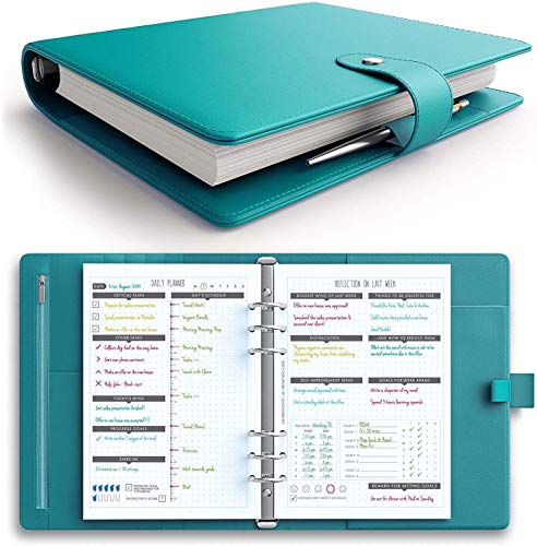 [MSRP $50 - Sale] LUX PRO Productivity Planner - Best A5 Undated Diary/Organizer for 2020/2021 - Daily Schedule & Reflection Journal - Manage Time/Projects/Finances - Goals & Gratitude (Turquoise)