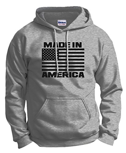 Flag Front Ash Grey T-shirt - ThisWear American Themed Clothes American Clothes Men Flag Gifts Made in America Patriotic Birthday Gift Hoodie Sweatshirt XL Ash