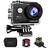 Apexcam 4K 16MP WIFI Action Camera Underwater Waterproof Camera Sports Camera With Sony Sensor 4X Zoom Ultra HD 40M 170°Wide-Angle 2.4G Remote Control 2 Rechargeable Batteries 2.0'' LCD Screen and Accessories Kit