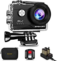 Apexcam 4K 16MP WIFI Action Camera Underwater Waterproof Camera Sports Camera Ultra HD 40M 170°Wide-Angle 2.4G Remote Control 2 Rechargeable Batteries 2.0'' LCD Screen and Accessories Kit