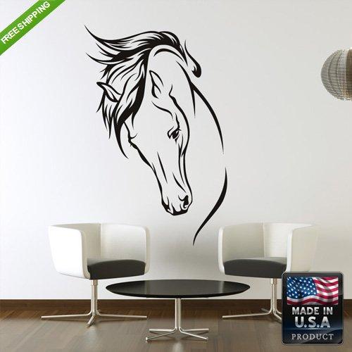 Wall Vinyl Decal Mural Sticker Horse Head Animal Tree Bedroom - Horse Head Wall