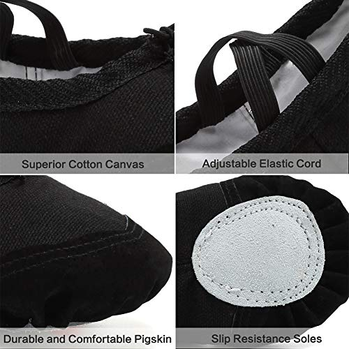 Gymnastics Classic B Ballet black Shoes Dance Flats Canvas Slippers for Yoga Split CIOR Girls Sole BHXwqOXxv