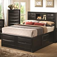 Coaster Briana Collection 202701KE Eastern King Size Storage Bed with Storage Drawers Bookshelf Chambered Trim Drawer Fronts and Center Metal Glides in Black
