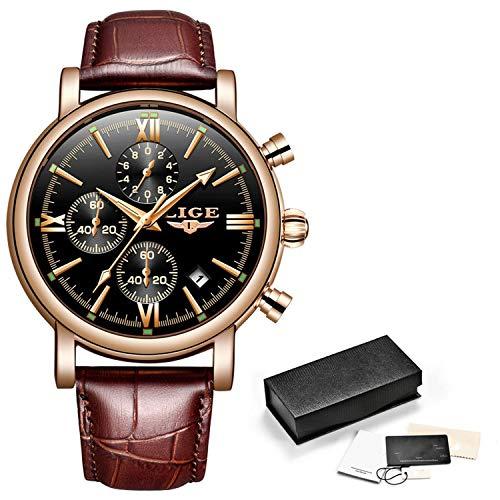 Men's Quartz Wristwatch Top Luxury Brand Watches Mens Waterproof Sport Mens Watch Leather Calendar Clock Relogio Masculino,Rose Gold Black