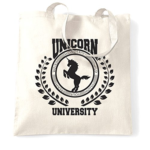 Size Parody Tote One Unicorn Bag Natural Logo White College University S8w44