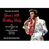 10 X Personalised Elvis Presley Party Invitations Amazon Co Uk