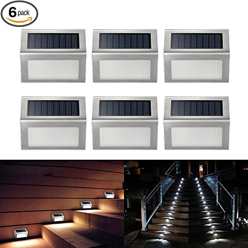 ELECCTV Solar Step Lights LED Solar Powered Stair Lights Outdoor Lighting for Steps Paths Waterproof (Lights Deck Solar Accent)