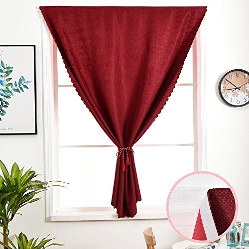 Cheap MEIYIMI 1 Pack Window Blackout Curtains Drapes – Velcro Sticker Thermal Insulated Window Treatments Curtain Panels for Red 42″×72″