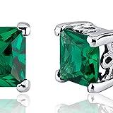 Simulated-Emerald-Princess-Cut-Stud-Earrings-Sterling-Silver-200-Carats
