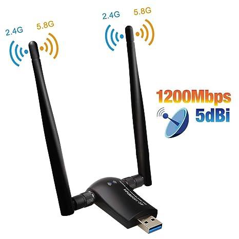 LGTERK USB WiFi Adaptador 1200Mbps WiFi Antena 5dbi USB 3.0 Wireless Network Dual Band 2.4GHz