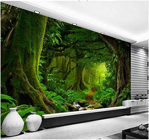 Wkxzz 壁画 壁紙3D熱帯林滝木ジャングル自然現代の森林小道ウォールステッカーリビングルームの寝室の壁画-120X100Cm