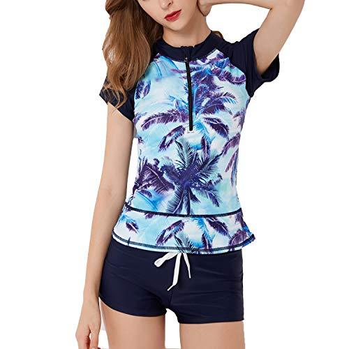 SWSMCLT Women's 2 Piece Tankini Floral Printed Zipper Front Boyshort Swimsuit Bathing Suit Style3 US 12/14 (Tag 4XL)