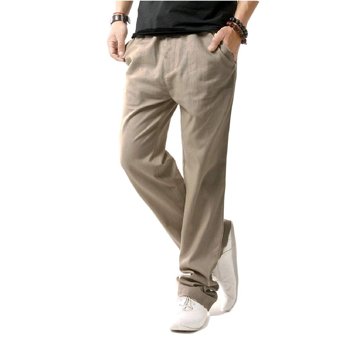 Andopa Mens Straight Linen Plus Size Drawstring Trousers Pants