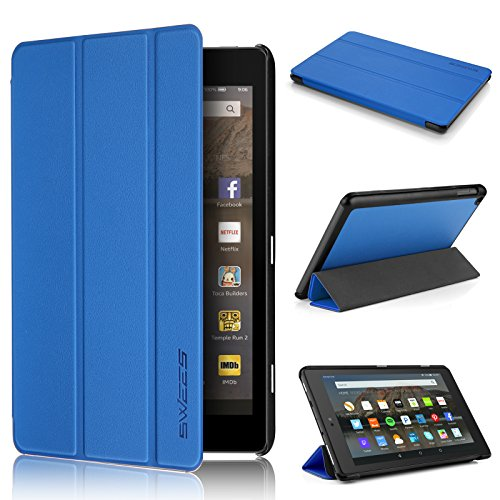 Fire Hd 8 Case 7Th Generation 2017 Release  Swees Slim Folio Protective Leather Smart Case Cover With Stand For All New Amazon Fire Hd 8 Tablet With Alexa 7Th Gen 2017 Kids Friendly  Marine Blue