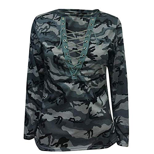 Grau Costume V Camouflage Sweat Outdoor Elgante Shirts Cou Loisir Printemps Manches Longues Jumper Sangles Automne Croises Chic Femme Haut Mode UqRnY88H