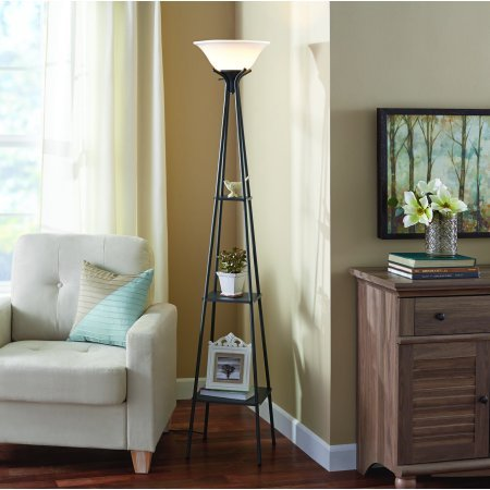 "Mainstays Etagere Floor Lamp Charcoal Finish, 69.5"""